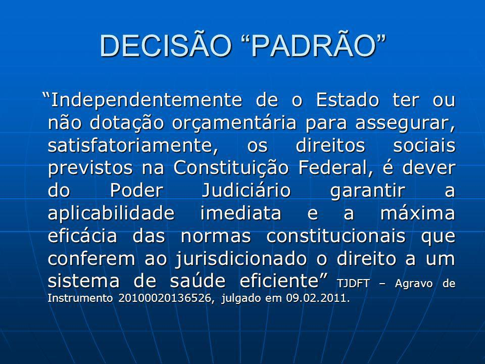 DECISÃO PADRÃO Independentemente de o Estado ter ou não dotação orçamentária para assegurar, satisfatoriamente, os direitos sociais previstos na Const