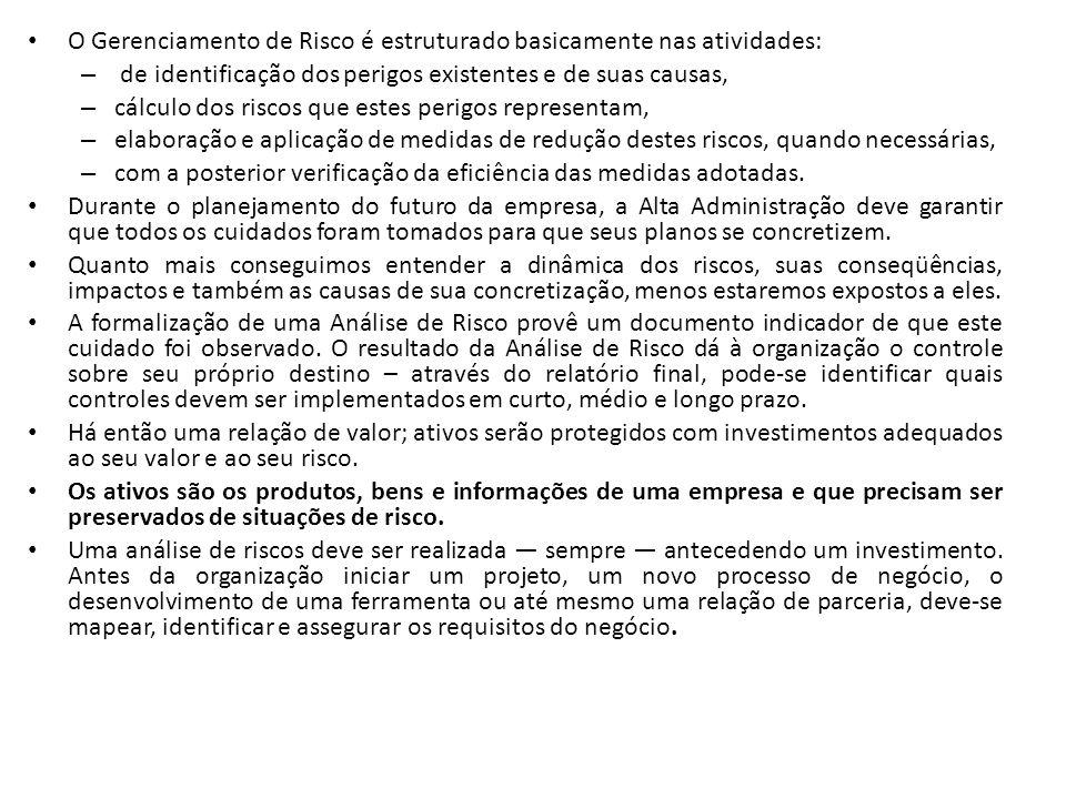 TRATAMENTO DE RISCO ELIMINAR O RISCO Ex.: não andar mais de avião REDUZIR O RISCO Ex.: fábrica que constrói um depósito subterrâneo para guardar combustível líquido e assim evitar incêndio - PROGRAMA DE PREVENÇÃO ASSUMIR O RISCO -Não adotar nenhuma medida para evitá-lo OU -Fazer um seguro para repor suas perdas caso o risco aconteça TRANFERIR O RISCO - Fazer um seguro (alguém assume as perdas causadas) NO PLANO DE CONTINGÊNCIA constará o tratamento dos riscos, ou seja, a resposta que a empresa terá que operacionalizar.
