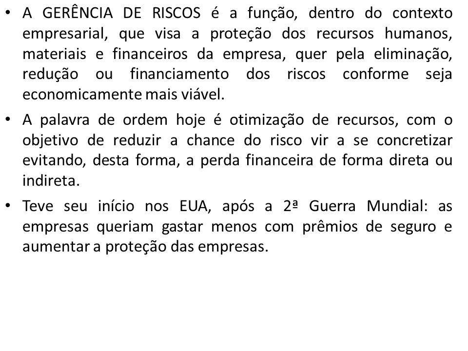 A GERÊNCIA DE RISCOS é a função, dentro do contexto empresarial, que visa a proteção dos recursos humanos, materiais e financeiros da empresa, quer pe