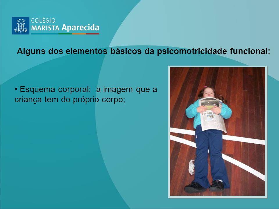 Esquema corporal: a imagem que a criança tem do próprio corpo; Alguns dos elementos básicos da psicomotricidade funcional:
