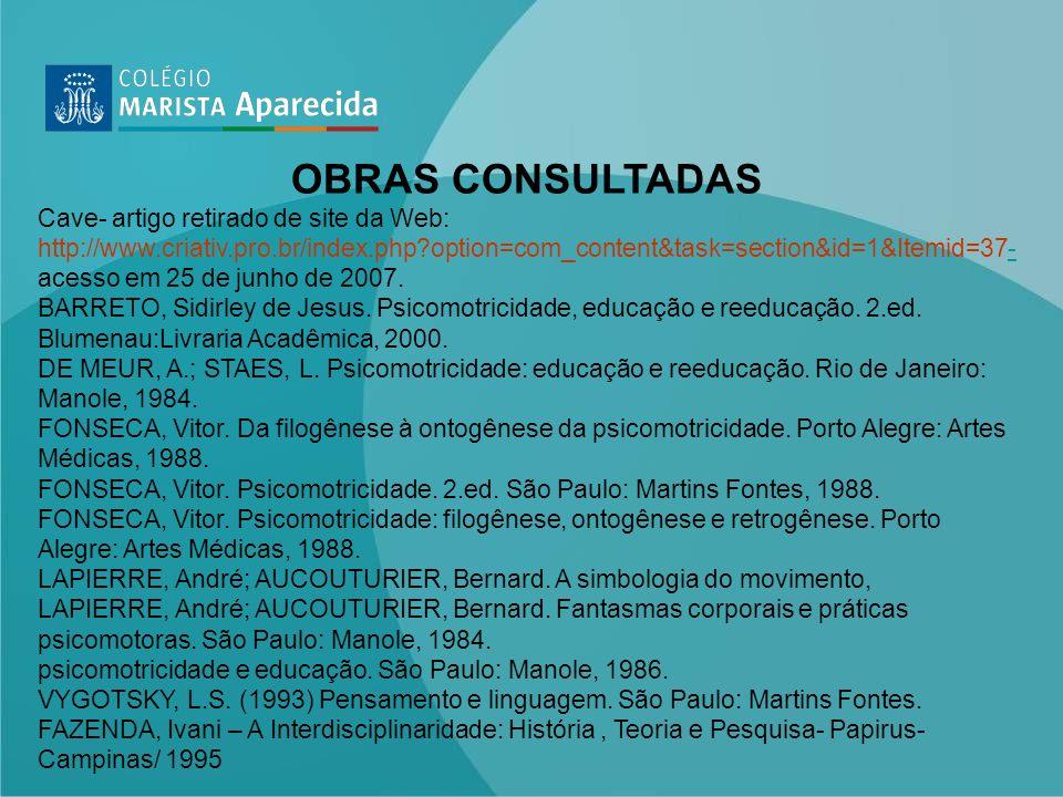 OBRAS CONSULTADAS Cave- artigo retirado de site da Web: http://www.criativ.pro.br/index.php?option=com_content&task=section&id=1&Itemid=37- acesso em