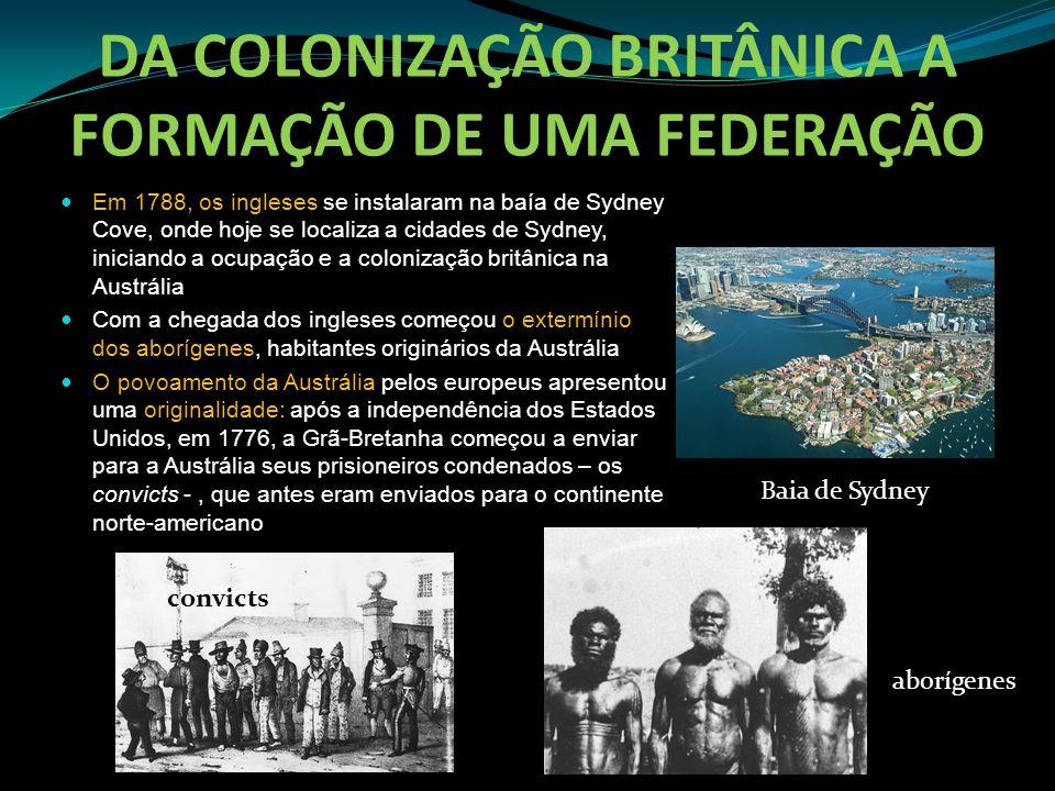 DA COLONIZAÇÃO BRITÂNICA A FORMAÇÃO DE UMA FEDERAÇÃO Em 1788, os ingleses se instalaram na baía de Sydney Cove, onde hoje se localiza a cidades de Syd