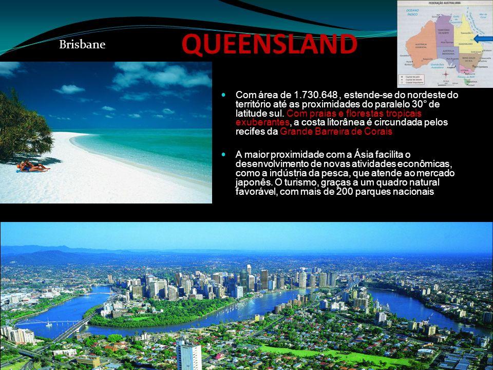 QUEENSLAND Com área de 1.730.648, estende-se do nordeste do território até as proximidades do paralelo 30° de latitude sul. Com praias e florestas tro
