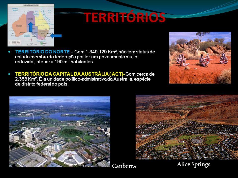 TERRITÓRIOS TERRITÓRIO DO NORTE – Com 1.349.129 Km², não tem status de estado membro da federação por ter um povoamento muito reduzido, inferior a 190