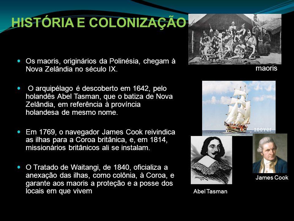 HISTÓRIA E COLONIZAÇÃO Os maoris, originários da Polinésia, chegam à Nova Zelândia no século IX. O arquipélago é descoberto em 1642, pelo holandês Abe