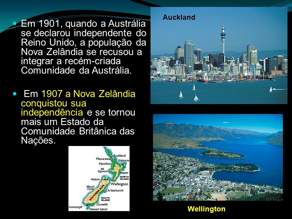 Em 1901, quando a Austrália se declarou independente do Reino Unido, a população da Nova Zelândia se recusou a integrar a recém-criada Comunidade da A