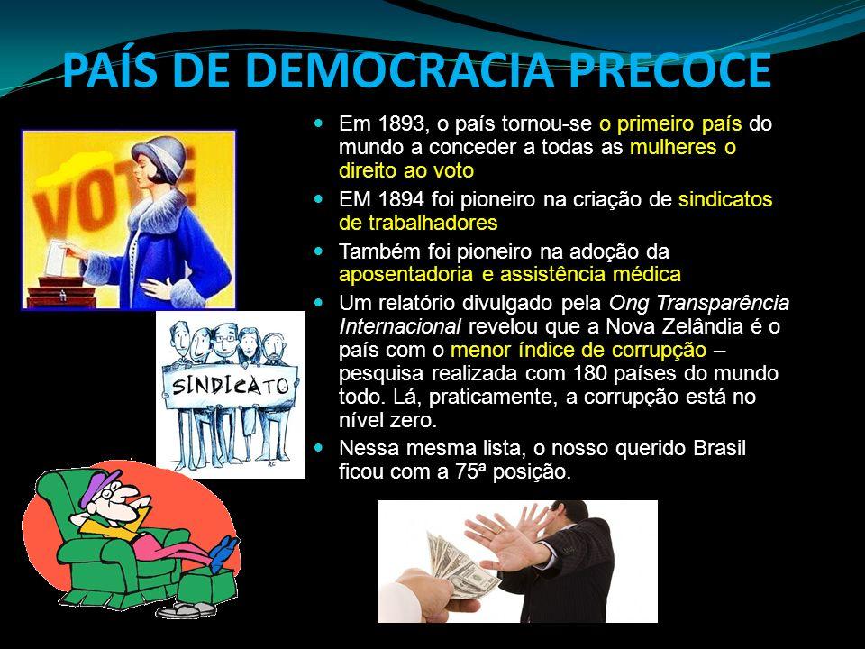 PAÍS DE DEMOCRACIA PRECOCE Em 1893, o país tornou-se o primeiro país do mundo a conceder a todas as mulheres o direito ao voto EM 1894 foi pioneiro na