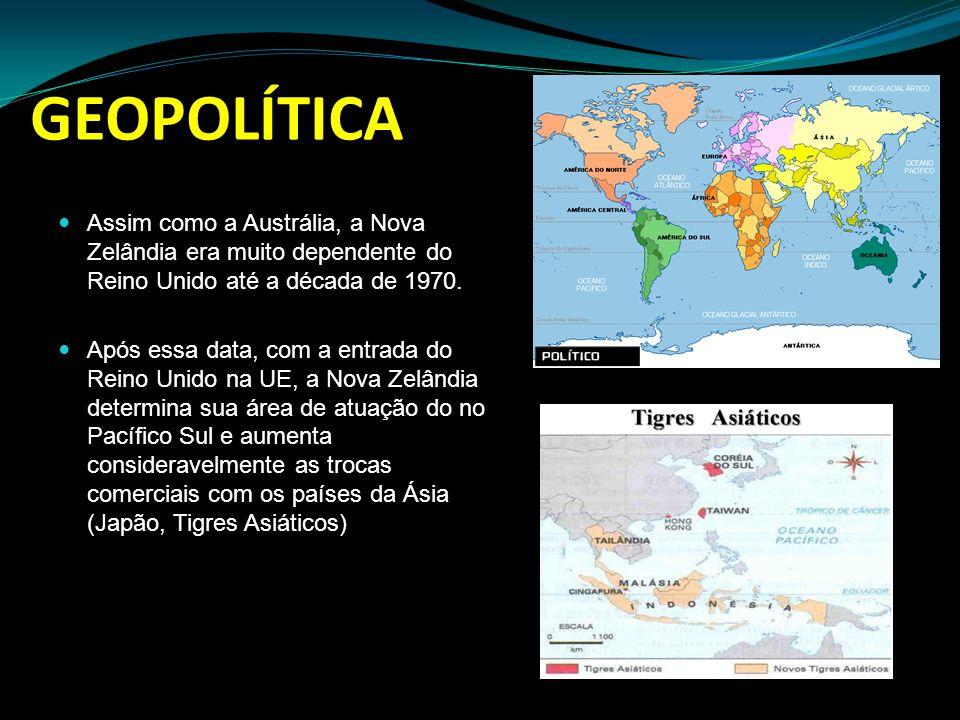 GEOPOLÍTICA Assim como a Austrália, a Nova Zelândia era muito dependente do Reino Unido até a década de 1970. Após essa data, com a entrada do Reino U