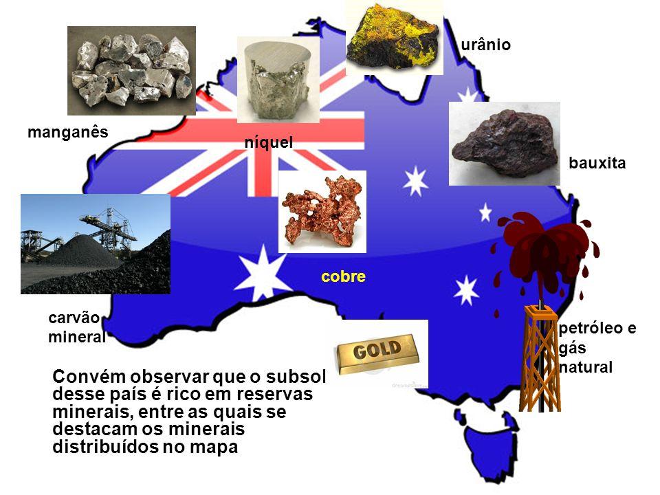 Convém observar que o subsolo desse país é rico em reservas minerais, entre as quais se destacam os minerais distribuídos no mapa carvão mineral petró