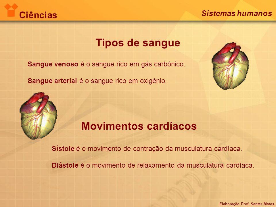 Tipos de sangue Sangue venoso é o sangue rico em gás carbônico. Sangue arterial é o sangue rico em oxigênio. Movimentos cardíacos Sístole é o moviment