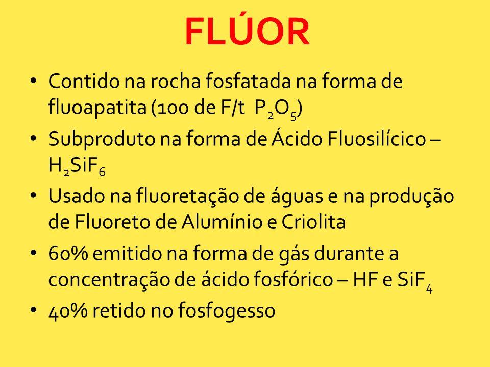 Contido na rocha fosfatada na forma de fluoapatita (100 de F/t P 2 O 5 ) Subproduto na forma de Ácido Fluosilícico – H 2 SiF 6 Usado na fluoretação de