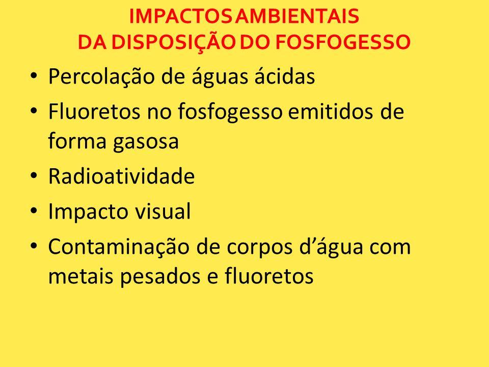 IMPACTOS AMBIENTAIS DA DISPOSIÇÃO DO FOSFOGESSO Percolação de águas ácidas Fluoretos no fosfogesso emitidos de forma gasosa Radioatividade Impacto vis