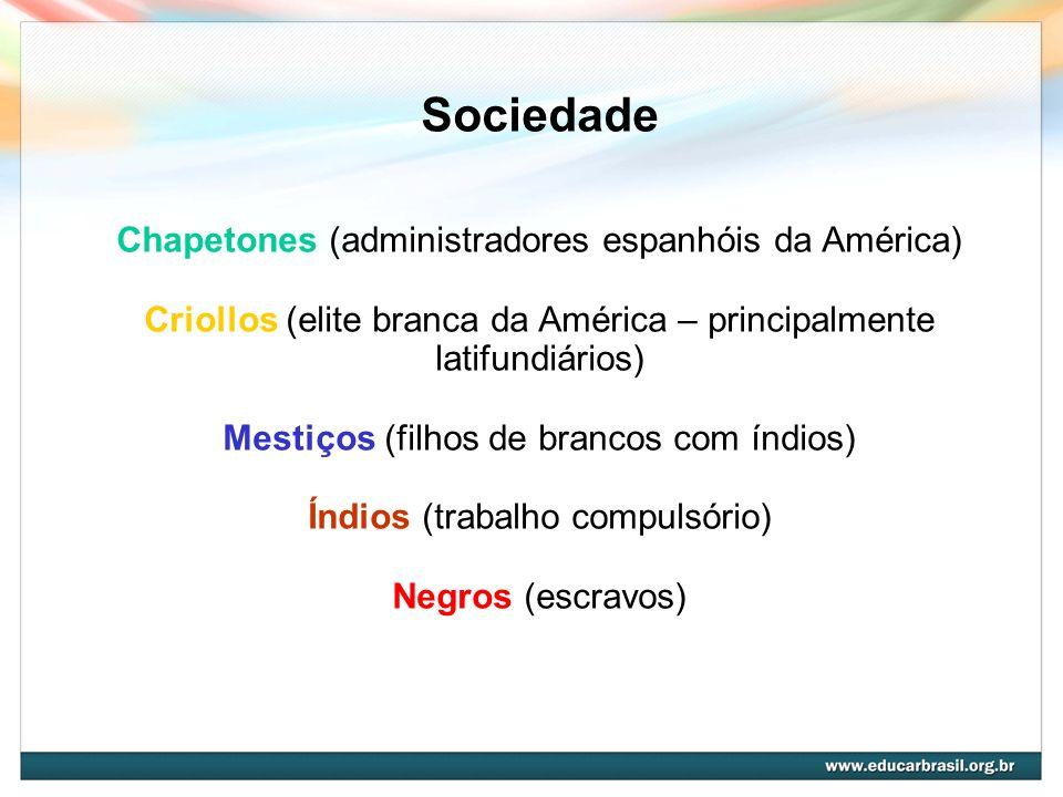 Sociedade Chapetones (administradores espanhóis da América) Criollos (elite branca da América – principalmente latifundiários) Mestiços (filhos de bra