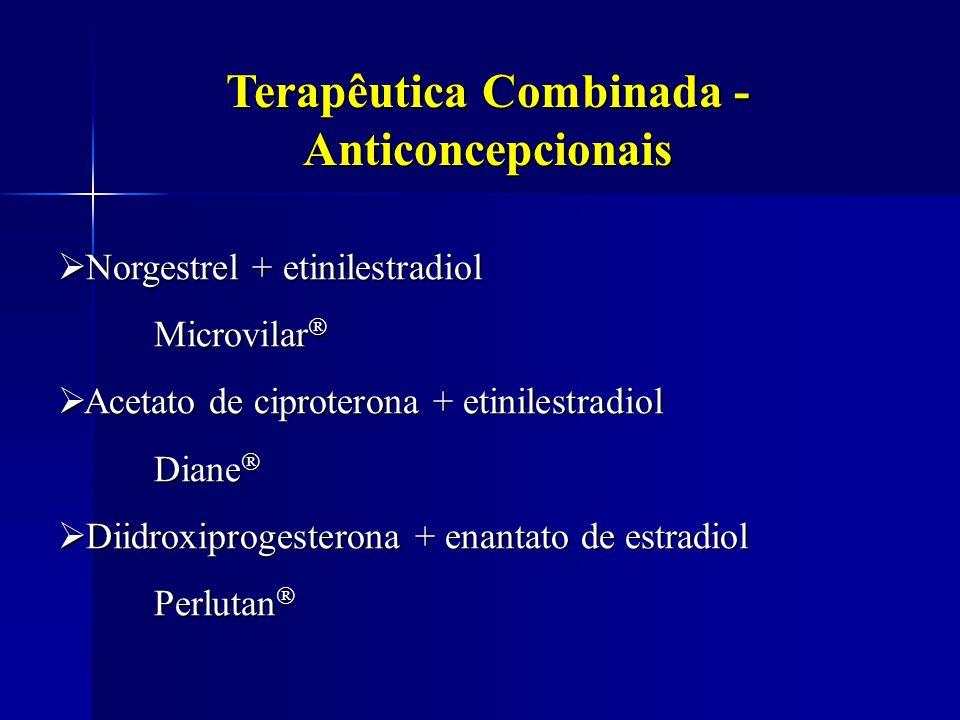 Terapêutica Combinada - Anticoncepcionais Norgestrel + etinilestradiol Norgestrel + etinilestradiol Microvilar Microvilar Acetato de ciproterona + eti