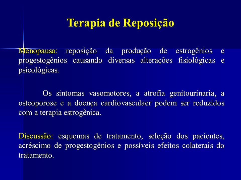Terapia de Reposição Menopausa: reposição da produção de estrogênios e progestogênios causando diversas alterações fisiológicas e psicológicas. Os sin