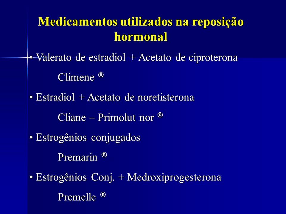 Medicamentos utilizados na reposição hormonal Valerato de estradiol + Acetato de ciproterona Valerato de estradiol + Acetato de ciproterona Climene Cl