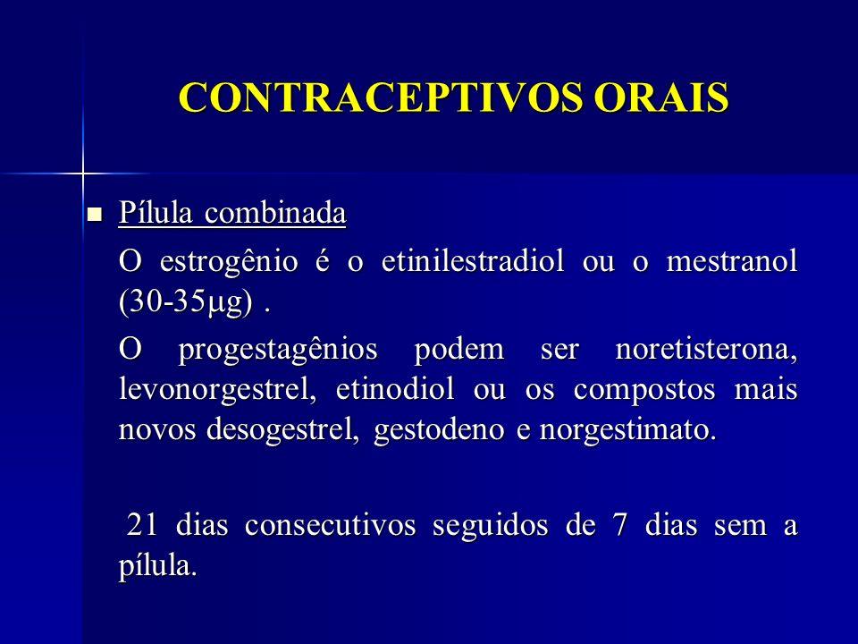 CONTRACEPTIVOS ORAIS Pílula combinada Pílula combinada O estrogênio é o etinilestradiol ou o mestranol (30-35 g). O progestagênios podem ser noretiste