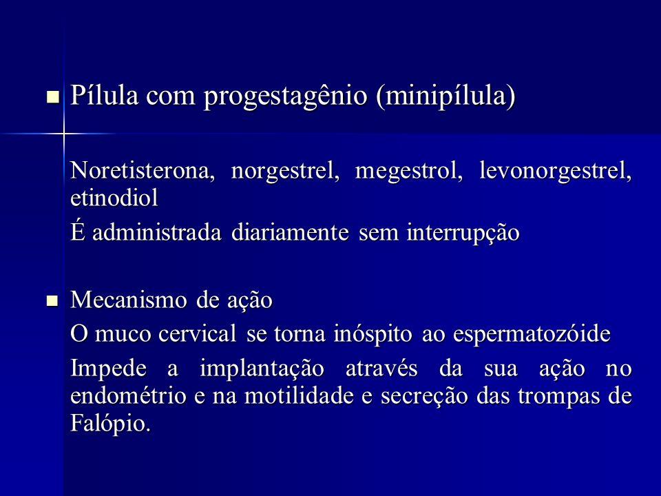 Pílula com progestagênio (minipílula) Pílula com progestagênio (minipílula) Noretisterona, norgestrel, megestrol, levonorgestrel, etinodiol É administ