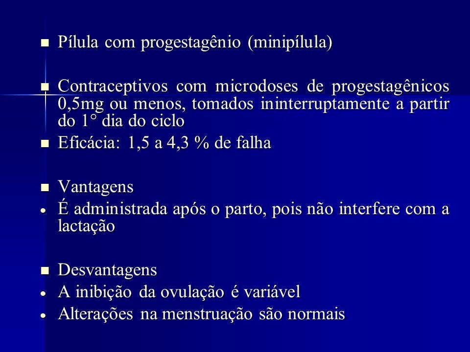 Pílula com progestagênio (minipílula) Pílula com progestagênio (minipílula) Contraceptivos com microdoses de progestagênicos 0,5mg ou menos, tomados i