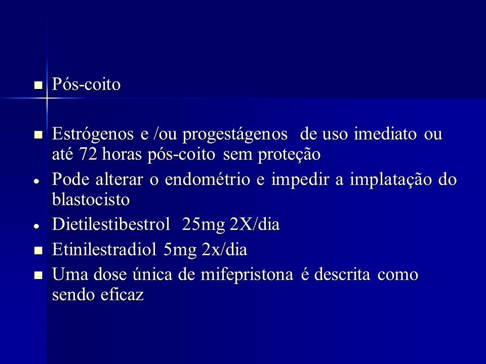Pós-coito Pós-coito Estrógenos e /ou progestágenos de uso imediato ou até 72 horas pós-coito sem proteção Estrógenos e /ou progestágenos de uso imedia