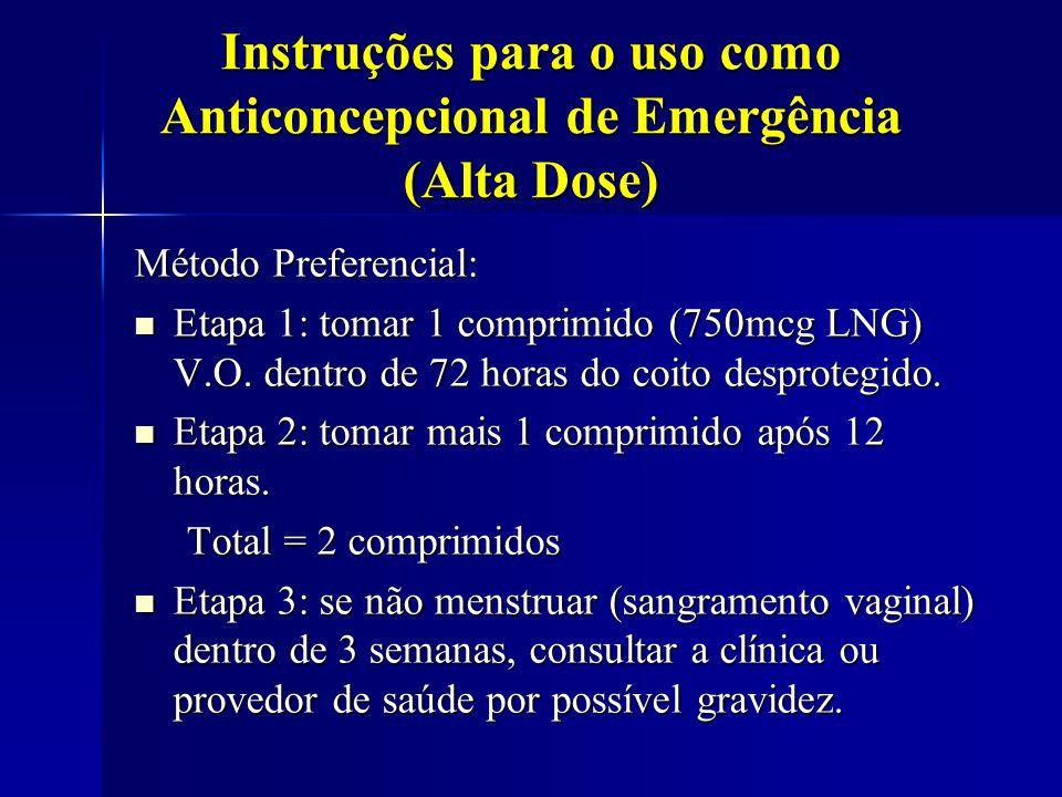 Instruções para o uso como Anticoncepcional de Emergência (Alta Dose) Método Preferencial: Etapa 1: tomar 1 comprimido (750mcg LNG) V.O. dentro de 72