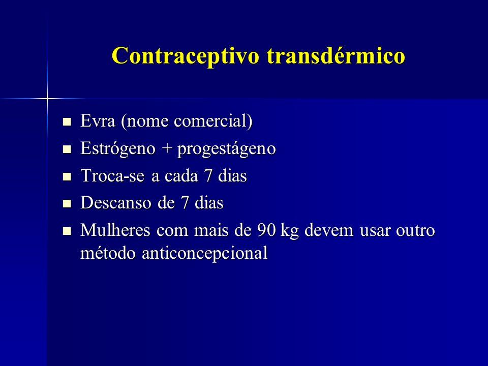 Contraceptivo transdérmico Evra (nome comercial) Evra (nome comercial) Estrógeno + progestágeno Estrógeno + progestágeno Troca-se a cada 7 dias Troca-