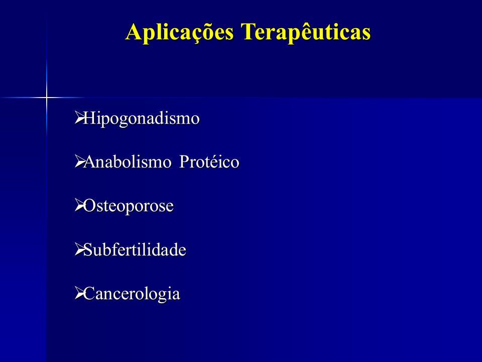 Hipogonadismo Hipogonadismo Anabolismo Protéico Anabolismo Protéico Osteoporose Osteoporose Subfertilidade Subfertilidade Cancerologia Cancerologia Ap