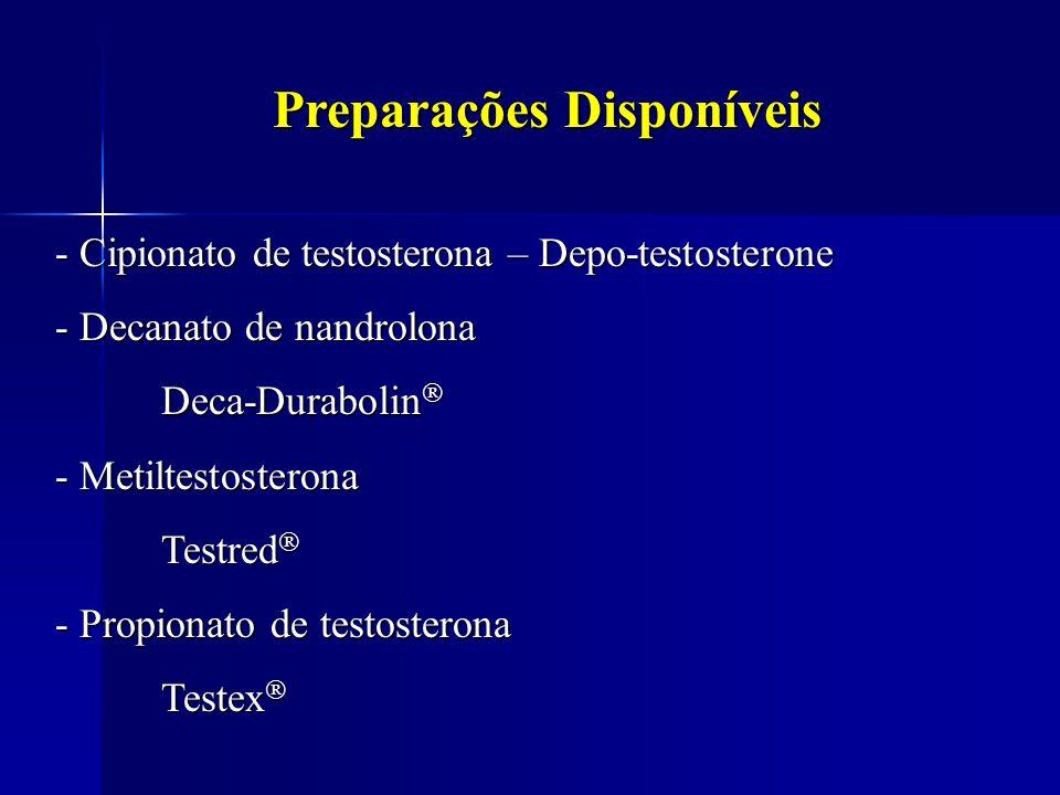 Preparações Disponíveis - Cipionato de testosterona – Depo-testosterone - Decanato de nandrolona Deca-Durabolin Deca-Durabolin - Metiltestosterona Tes