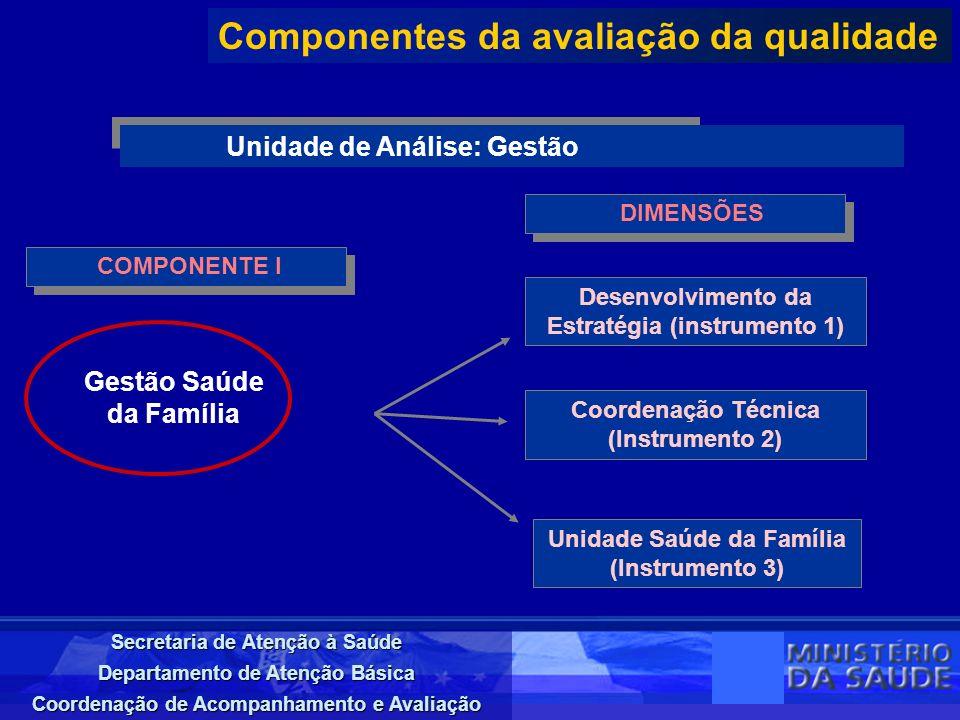 Secretaria de Atenção à Saúde Departamento de Atenção Básica Coordenação de Acompanhamento e Avaliação COMPONENTE I Componentes da avaliação da qualid