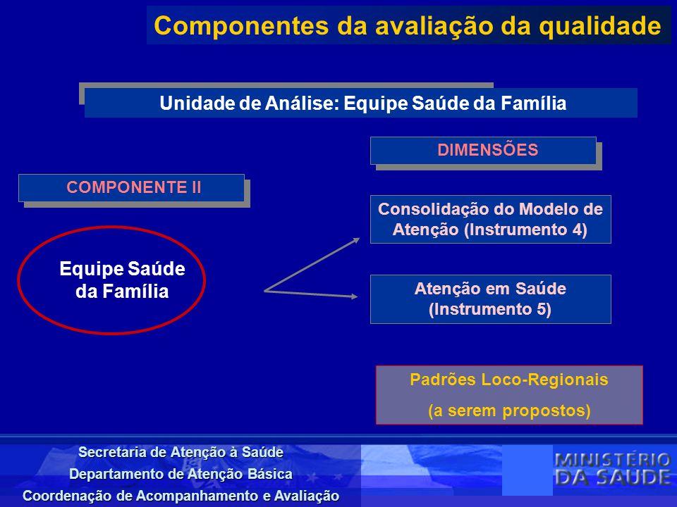 Secretaria de Atenção à Saúde Departamento de Atenção Básica Coordenação de Acompanhamento e Avaliação COMPONENTE II Componentes da avaliação da quali