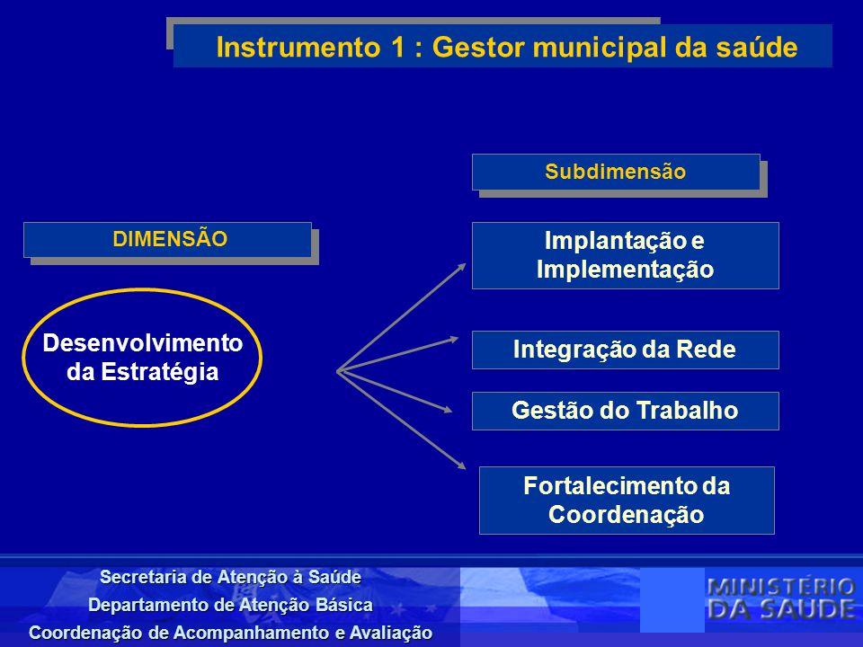 Secretaria de Atenção à Saúde Departamento de Atenção Básica Coordenação de Acompanhamento e Avaliação DIMENSÃO Instrumento 1 : Gestor municipal da sa