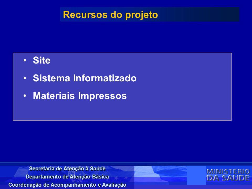 Secretaria de Atenção à Saúde Departamento de Atenção Básica Coordenação de Acompanhamento e Avaliação Site Sistema Informatizado Materiais Impressos