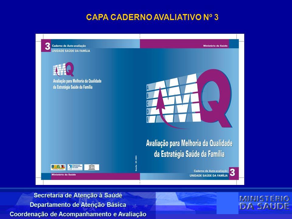 Secretaria de Atenção à Saúde Departamento de Atenção Básica Coordenação de Acompanhamento e Avaliação CAPA CADERNO AVALIATIVO Nº 3