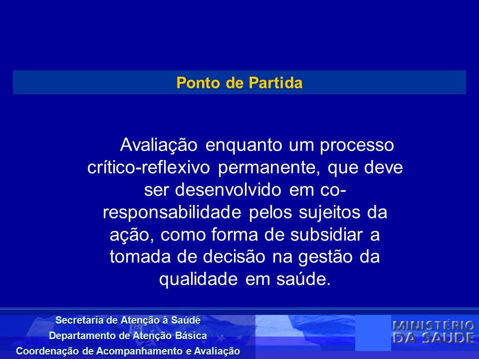 Secretaria de Atenção à Saúde Departamento de Atenção Básica Coordenação de Acompanhamento e Avaliação Ponto de Partida Avaliação enquanto um processo