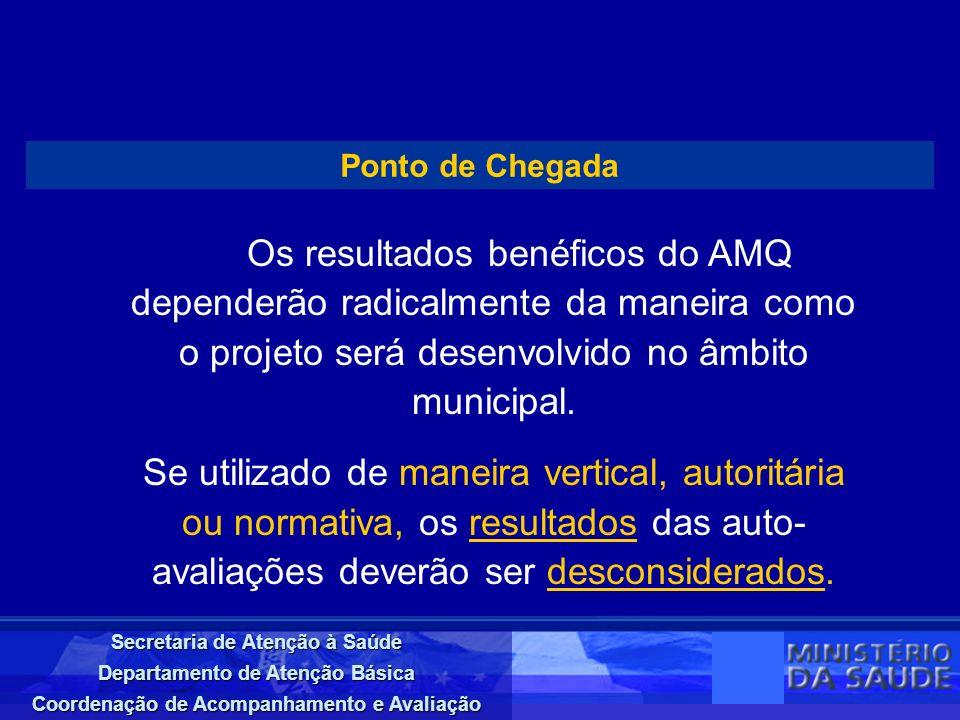 Secretaria de Atenção à Saúde Departamento de Atenção Básica Coordenação de Acompanhamento e Avaliação Ponto de Chegada Os resultados benéficos do AMQ