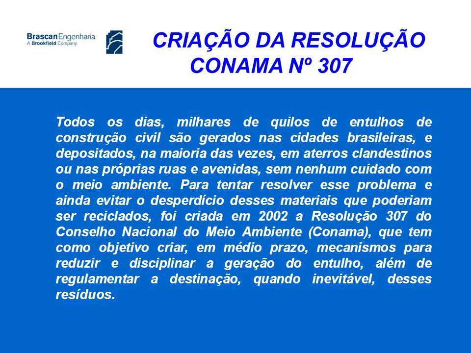 CRIAÇÃO DA RESOLUÇÃO CONAMA Nº 307 Todos os dias, milhares de quilos de entulhos de construção civil são gerados nas cidades brasileiras, e depositado