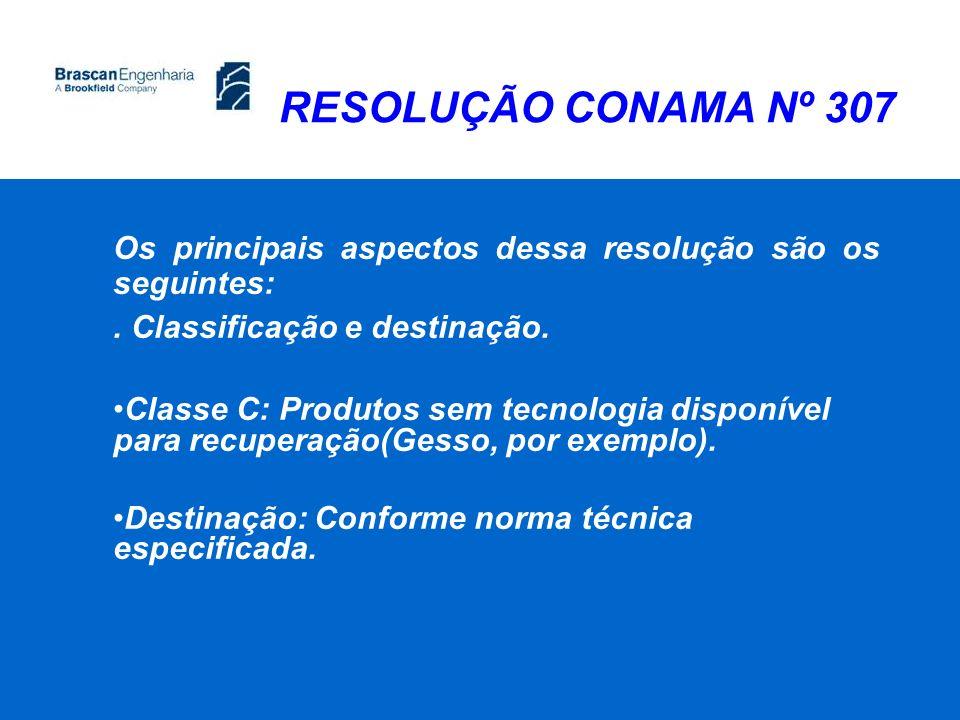RESOLUÇÃO CONAMA Nº 307 Os principais aspectos dessa resolução são os seguintes:. Classificação e destinação. Classe C: Produtos sem tecnologia dispon