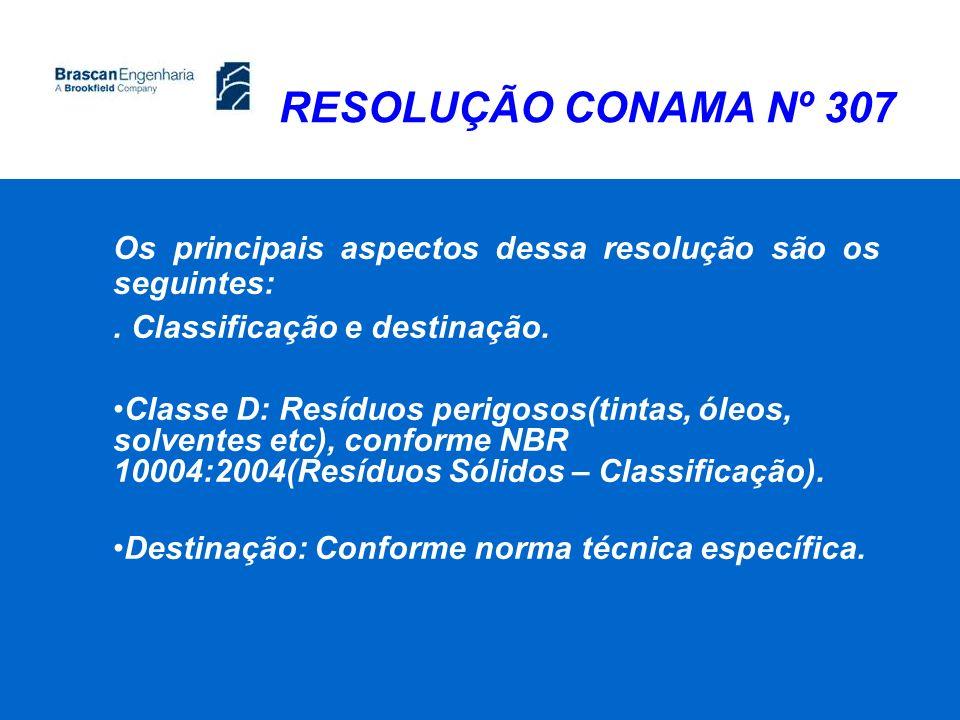 RESOLUÇÃO CONAMA Nº 307 Os principais aspectos dessa resolução são os seguintes:. Classificação e destinação. Classe D: Resíduos perigosos(tintas, óle