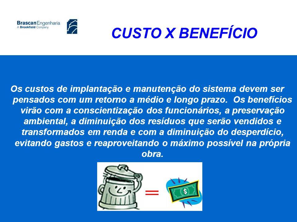 CUSTO X BENEFÍCIO Os custos de implantação e manutenção do sistema devem ser pensados com um retorno a médio e longo prazo. Os benefícios virão com a