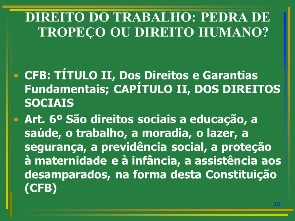 19 DIREITO DO TRABALHO: PEDRA DE TROPEÇO OU DIREITO HUMANO.