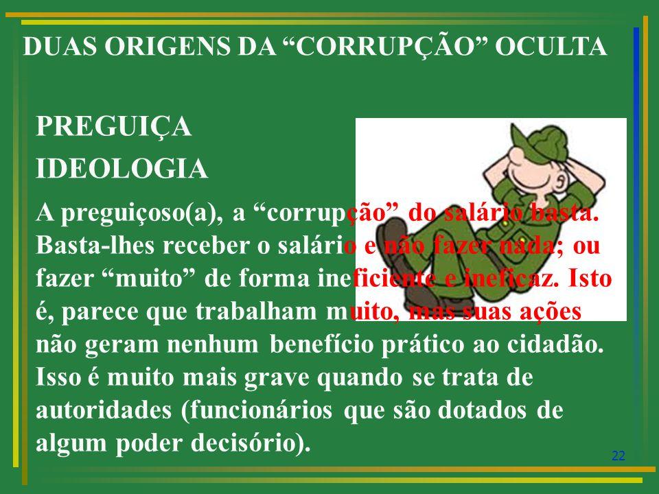 23 DUAS ORIGENS DA CORRUPÇÃO OCULTA PREGUIÇA IDEOLOGIA Como identificar um preguiçoso ou uma preguiçosa.