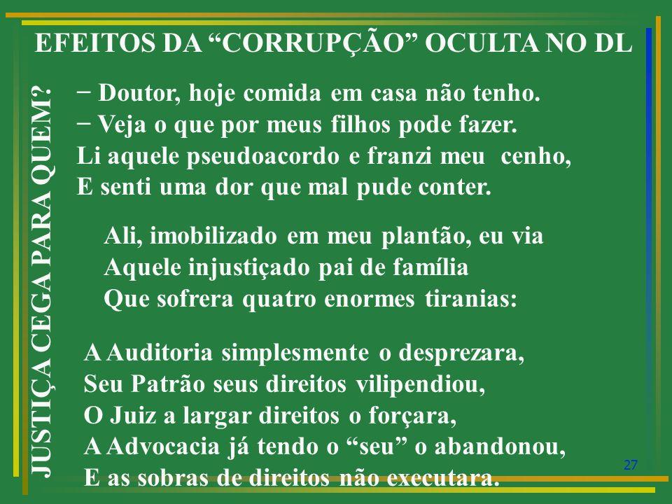 28 EFEITOS DA CORRUPÇÃO OCULTA NO DIREITO LABORAL JUSTIÇA CEGA PARA QUEM.