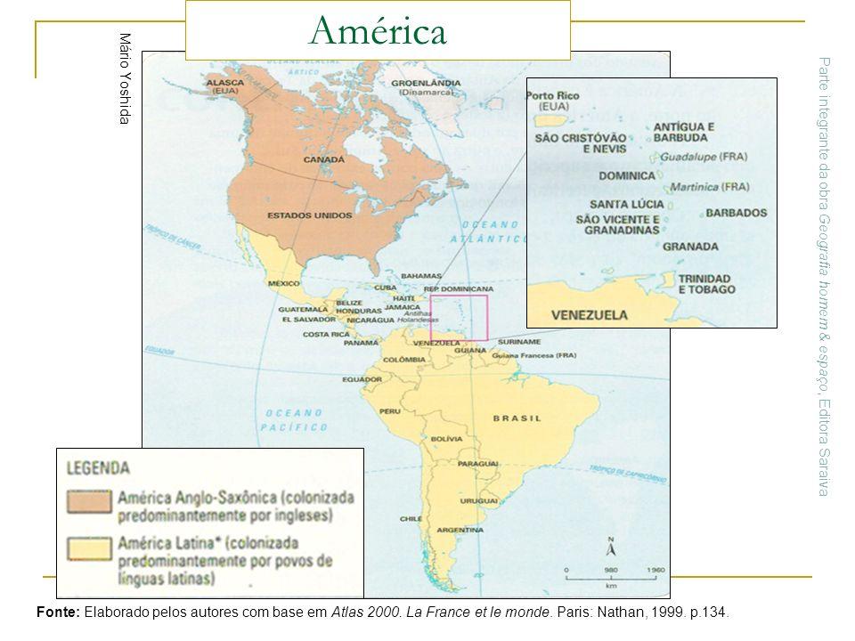 Mário Yoshida Fonte: Elaborado pelos autores com base em Atlas 2000. La France et le monde. Paris: Nathan, 1999. p.134. América Parte integrante da ob