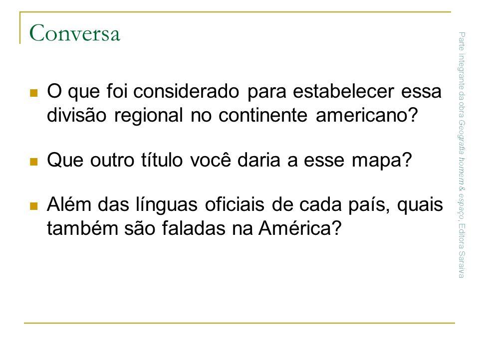 Conversa O que foi considerado para estabelecer essa divisão regional no continente americano? Que outro título você daria a esse mapa? Além das língu