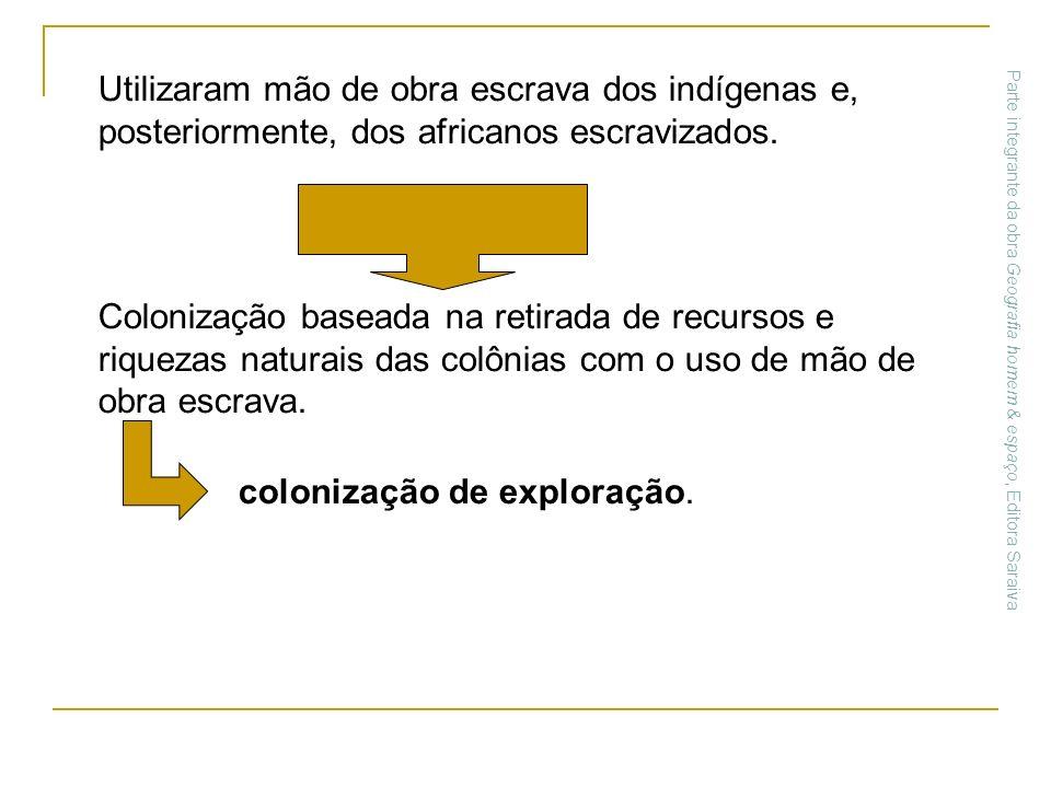 Utilizaram mão de obra escrava dos indígenas e, posteriormente, dos africanos escravizados. Colonização baseada na retirada de recursos e riquezas nat