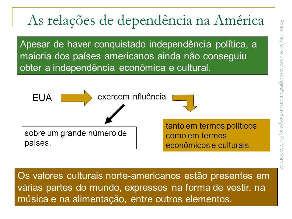 As relações de dependência na América Os valores culturais norte-americanos estão presentes em várias partes do mundo, expressos na forma de vestir, n