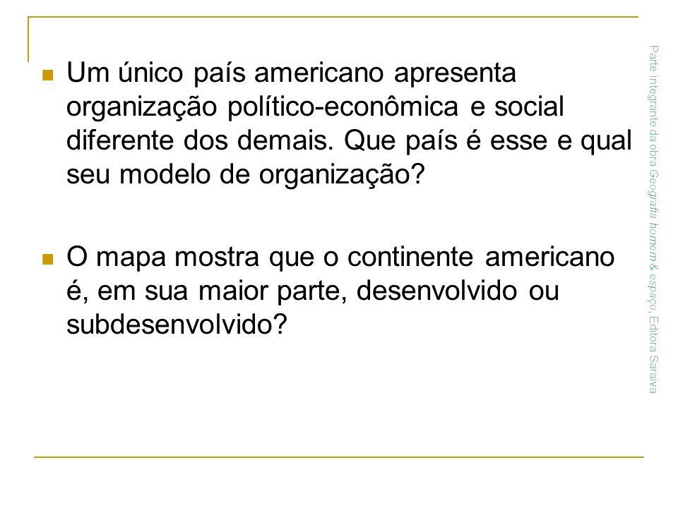 Um único país americano apresenta organização político-econômica e social diferente dos demais. Que país é esse e qual seu modelo de organização? O ma