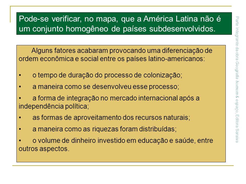 Alguns fatores acabaram provocando uma diferenciação de ordem econômica e social entre os países latino-americanos: o tempo de duração do processo de