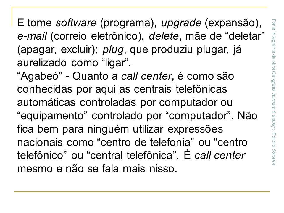 E tome software (programa), upgrade (expansão), e-mail (correio eletrônico), delete, mãe de deletar (apagar, excluir); plug, que produziu plugar, já a