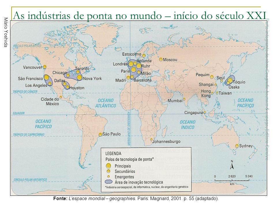 As indústrias de ponta no mundo – início do século XXI Mário Yoshida Fonte: Lespace mondial – geographies. Paris: Magnard, 2001. p. 55 (adaptado). Par